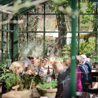 People eating in the greenhouse room at Gemyse Tivoli in Copenhagen