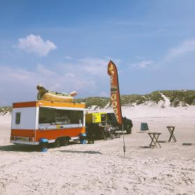 Hot dog stand on a beach in Denmark