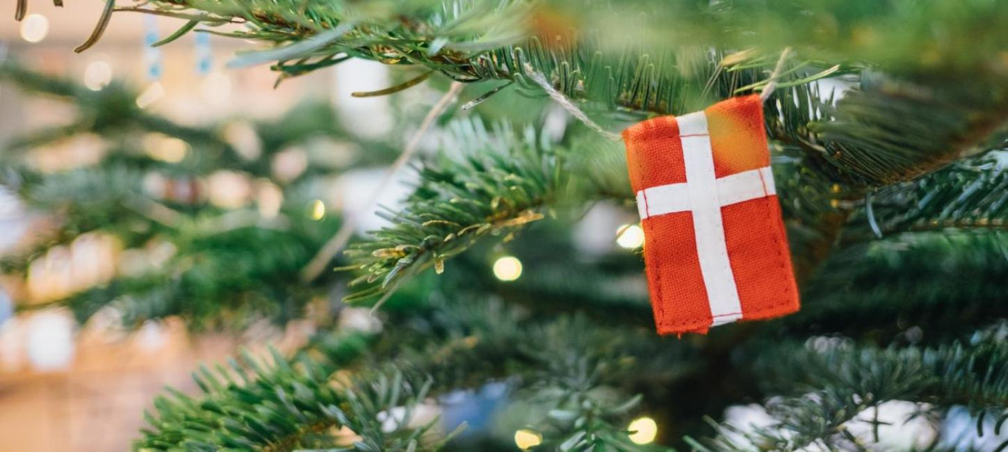 Danish flag decoration on a Christmas tree