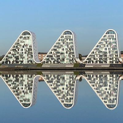 Bølgen (The Wave), an apartment building in Vejle, Denmark, that looks like a wave