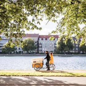 Cargo bike by the lakes in Copenhagen