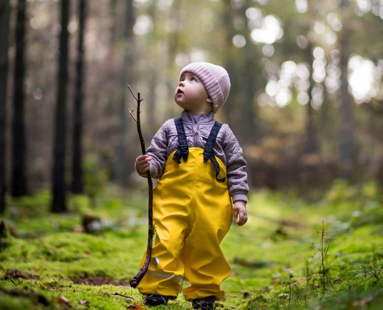 A toddler exploring the forests near Horsens, Denmark